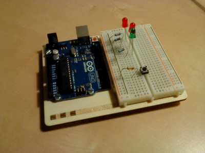 The balsa platform with the Arduino and the breadboard