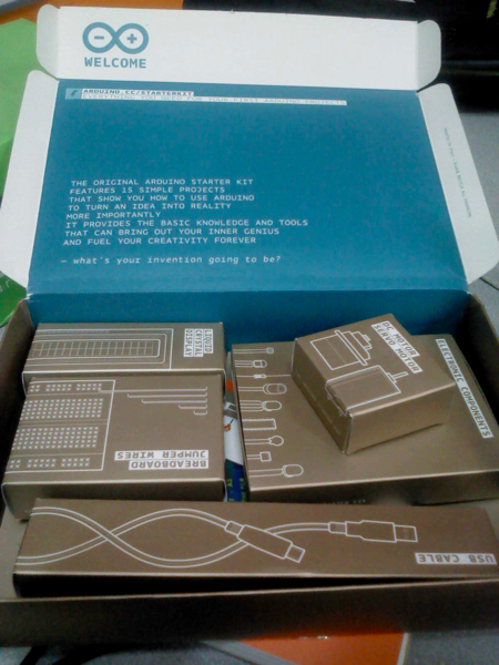 The inside of Arduino Starter kit and its boxes