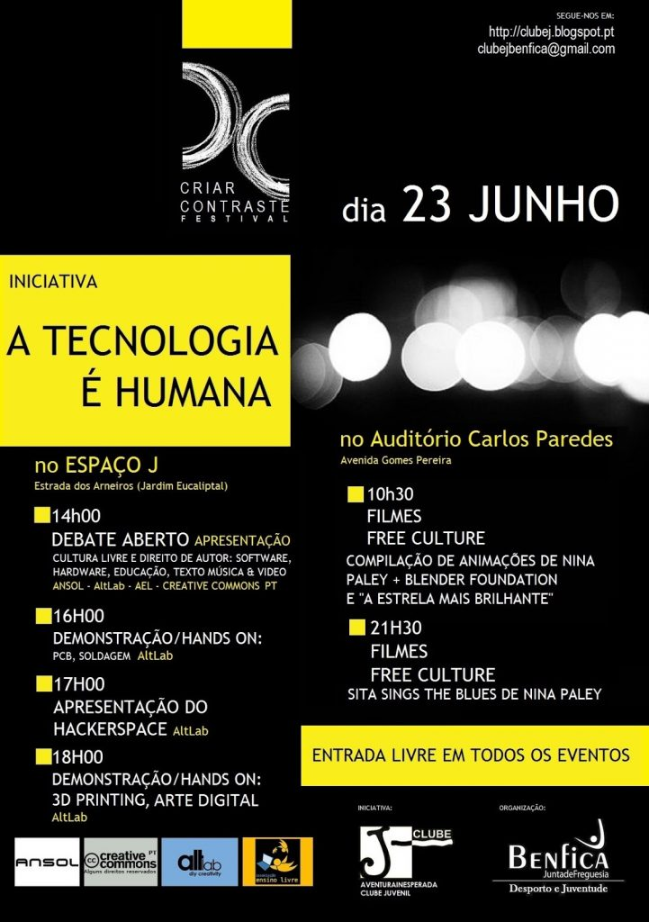 Cartaz - Apresentação Altlab Benfica - A Tecnologia é Humana